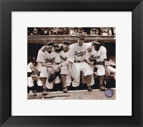 Framed Jackie Robinson - First Day, with Spider Jorgenson, Pee Wee Reese, Ed Stankey Print