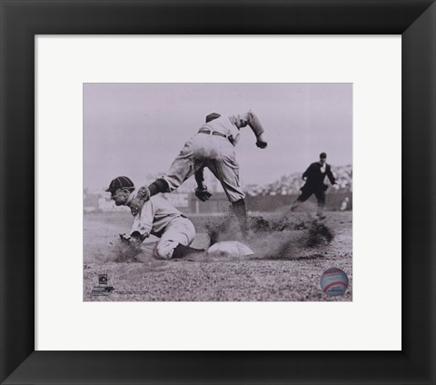 Framed Ty Cobb - Sliding into base, sepia Print