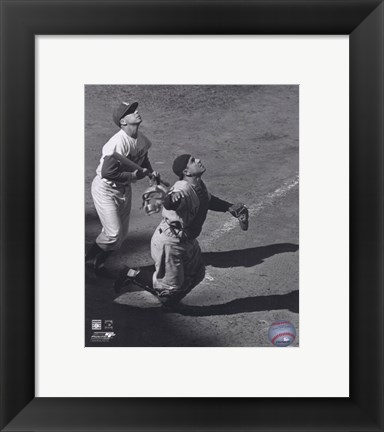 Framed Yogi Berra - catching action / sepia Print