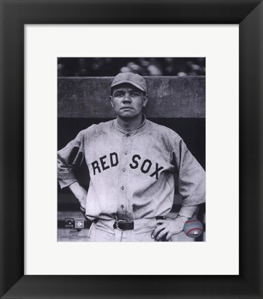 Framed Babe Ruth - Close Up (Red Sox) Print