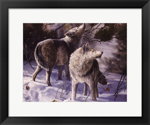Framed Winter Wolves Print