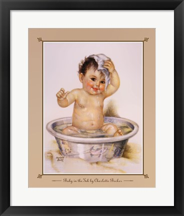 Framed Baby In The Tub Print