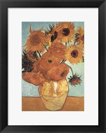 Framed Sunflower on Blue, c.1888 Print