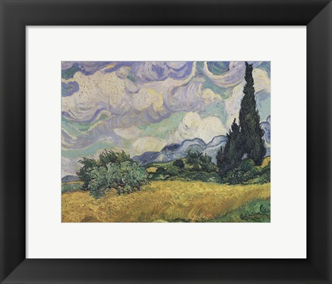 Framed Wheat Field with Cypresses, c.1889 Print