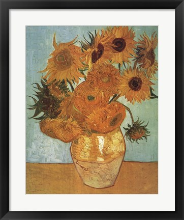 Framed Vase with Twelve Sunflowers, c.1888 Print