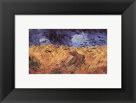 Framed Wheatfield with Crows, c.1890 Print