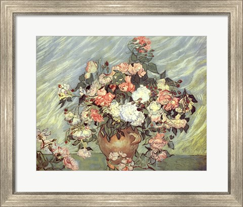 Framed Pink and White Roses Print