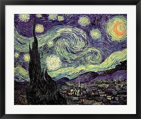 Framed Starry Night, c.1889 Print