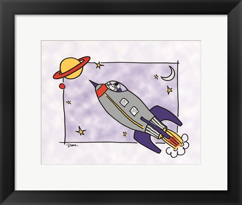 Framed Rocketship I Print