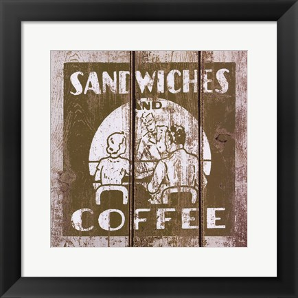 Framed Sandwich and Coffee Print