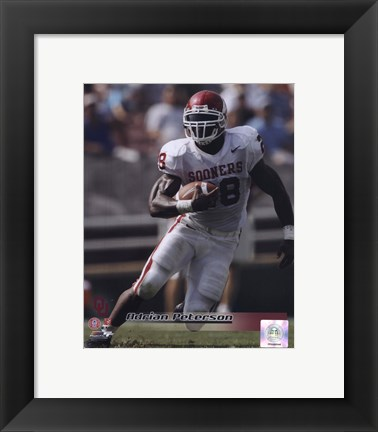 Framed Adrian Peterson University of Oklahoma Sooners 2005 Action Print
