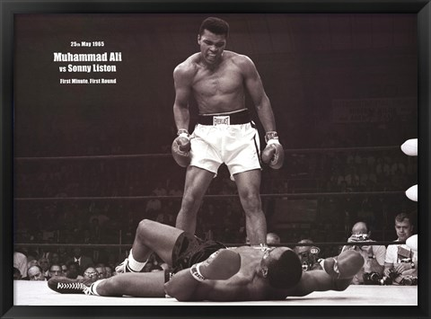 Framed Muhammad Ali - 1965 1st Round Knockout Against Sonny Liston (landscape) Print