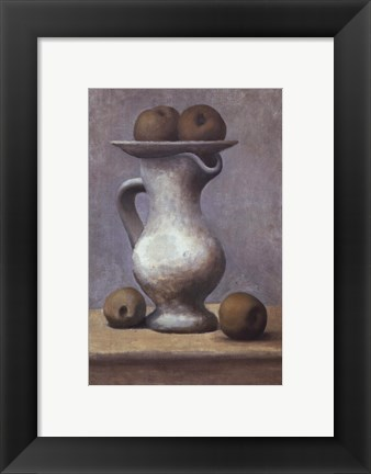 Framed Still Life with Pitcher and Apple Print