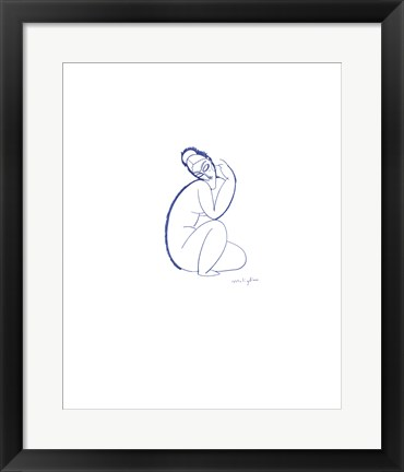 Framed Nude Seated on Left Leg Print