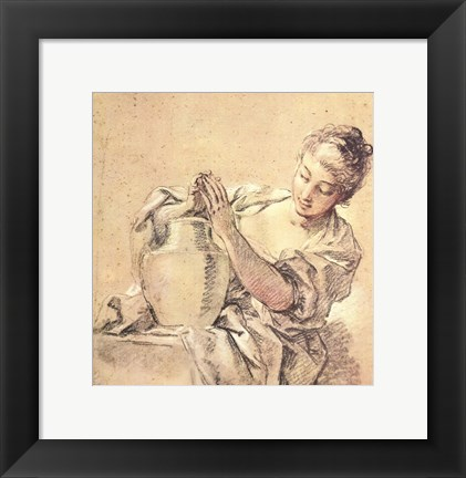 Framed Girl with Jug Print