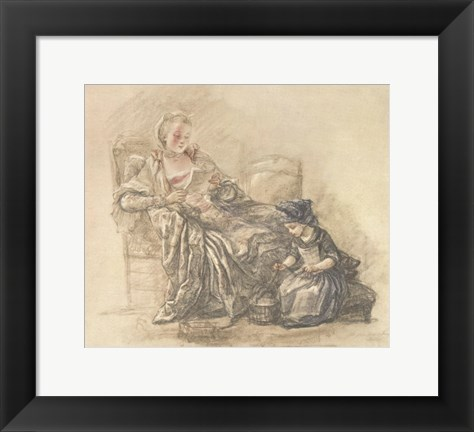 Framed Reading Woman with Child Print