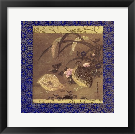Framed Quails and Flowers Print