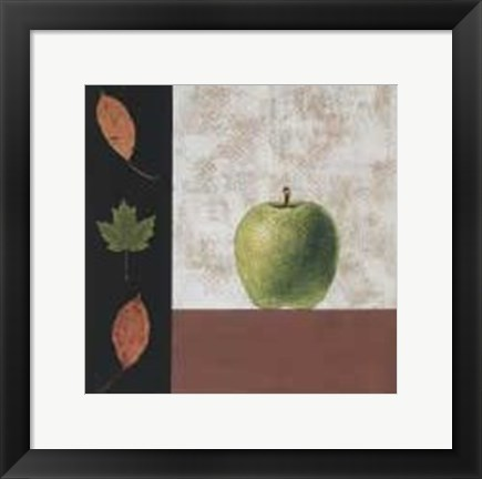 Framed Green Apple and Leaves Print
