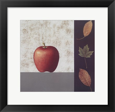 Framed Red Apple and Leaves Print
