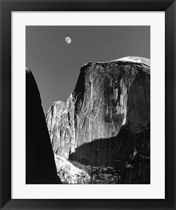 Framed Moon And Half Dome Print