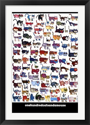 Framed 100 Cats and a Mouse Print