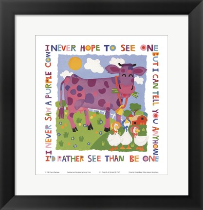Framed Purple Cow Print