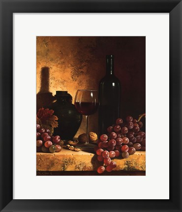 Framed Wine Bottle, Grapes and Walnuts Print