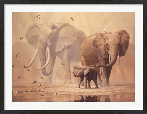 Framed African Elephants and Namaqua Doves Print