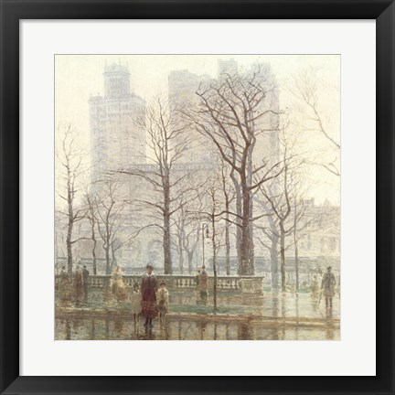 Framed Rainy Day in the City Print