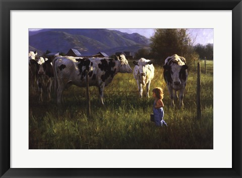 Framed Anniken and the Cows Print
