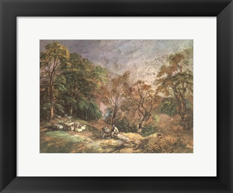 Framed Landscape With Resting Men Print