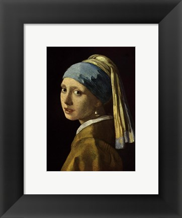 Framed Girl with a Pearl Earring, c.1665 Print