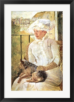 Framed Woman with Dog Print