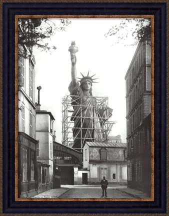 Framed Statue of Liberty in Paris, 1886 Print