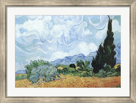 Framed Yellow Wheat And Cypresses Print