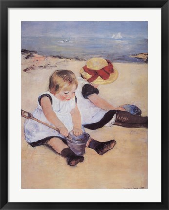 Framed Children Playing On The Beach Print