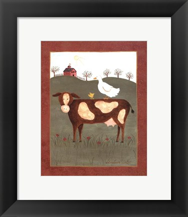 Framed Cow with Duck Print