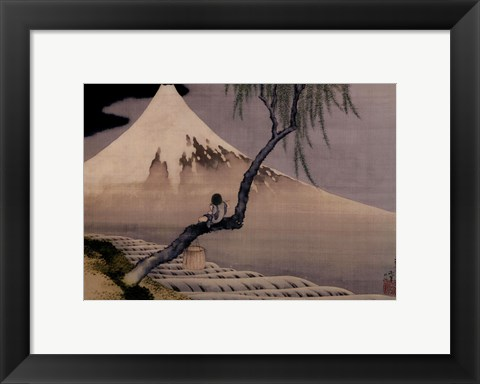 Framed Boy On Mt. Fuji Print