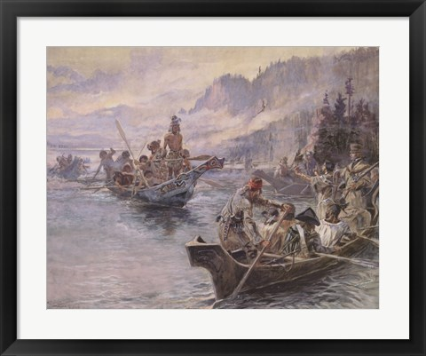 Framed Lewis and Clark On The Lower Columbia Print