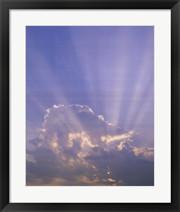 Framed Clouds With Sun Rays - Vertical Print