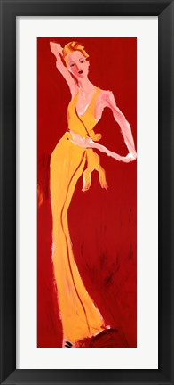 Framed Haute-Couture III (Yellow On Red) Print