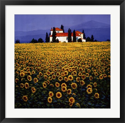 Framed Sunflowers Field Print