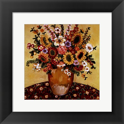 Framed Golden Vase Floral Print