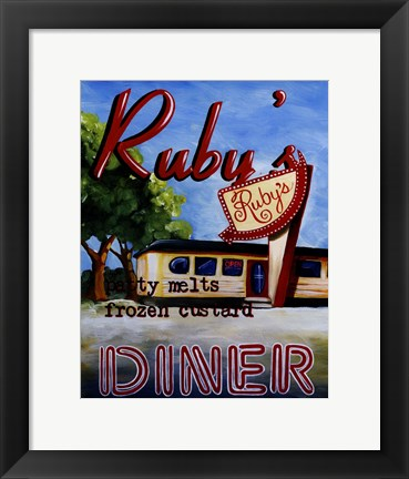 Framed Ruby's Diner Print