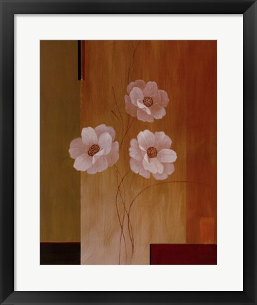 Framed Three White Flowers II Print
