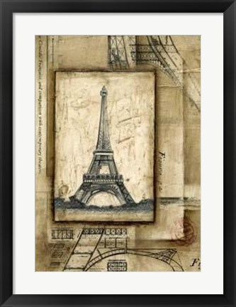 Framed Passport To Eiffel Print