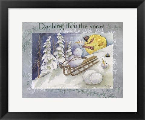 Framed Dashing Thru The Snow Print