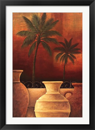 Framed Sunset Palms I Print