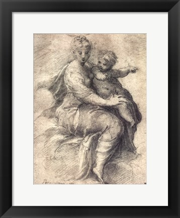 Framed Madonna and Child On The Clouds Print
