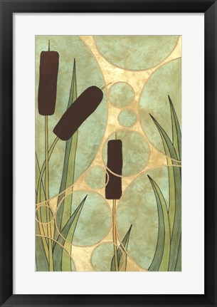 Framed Tranquil Cattails I Print